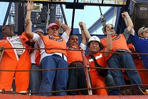 Brazilian Dock Workers on Strike - Santos Port - Sao Paulo
