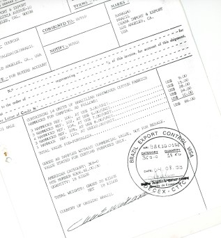 Brazilian Invoice for Sample Shipment of Hammocks