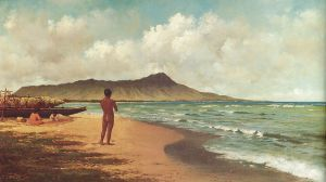 Joseph Dwight Strong - 'Hawaiians at Rest, Waikiki' - oil on canvas, c. 1884