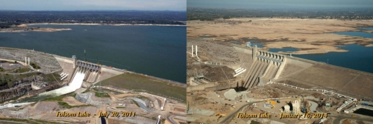 Drought in Folsom Lake - Northern California - 2011 and 2014