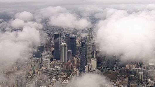 Rain clouds hover over Downtown Los Angeles - December 2014