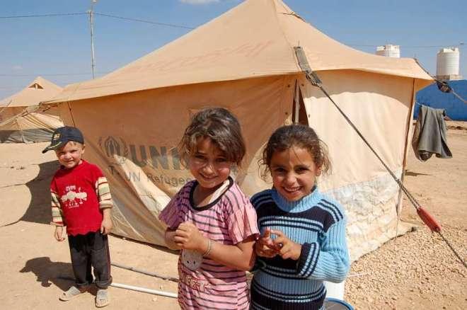 Syrian Children outside UNHCR Tent - Jordan Refugee Camp