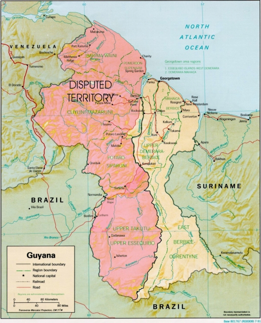 Map of Guyana - Disputed Area being claimed by Venezuela