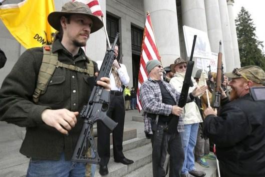 Gun owners at gun-rights rally - Washington State - 15 January 2015