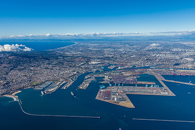 Aerial View of the Port of Los Angeles - California - United States