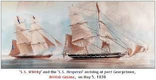 Sailships Whitby and Hesperus arriving at Port Georgetown - British Guiana - May 5, 1838