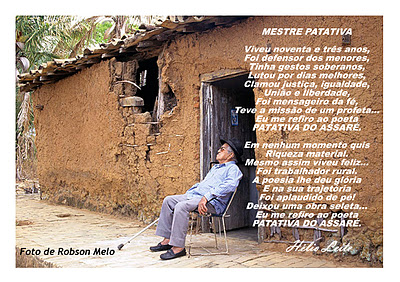 Patativa do Assare seated in front of his hut in Assare - Ceara - Brazil