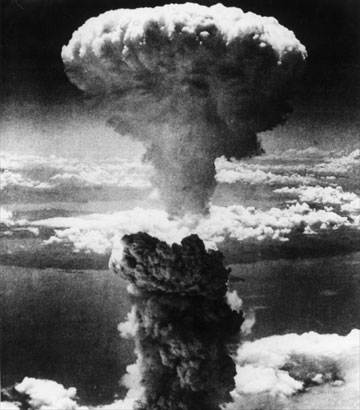 Atomic bomb mushroom cloud over Nagasaki - Japan
