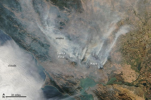 NASA satellite image of California wildfires 10 October 2017