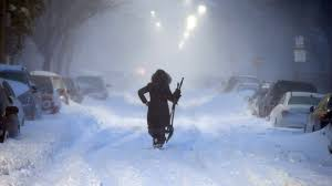 Woman walks down street in East Boston - Massachusetts - 4 January 2018