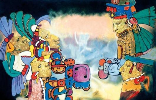 Dawn and Evening Star, Olmec Maya Series by Guyanese-born Artist Aubrey Williams, 1982