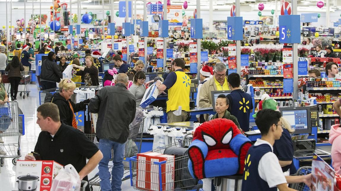 Shoppers at Walmart Store - Christmas 2017