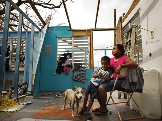 Family awaiting aid after Hurricane Maria - Puerto Rico - 2017