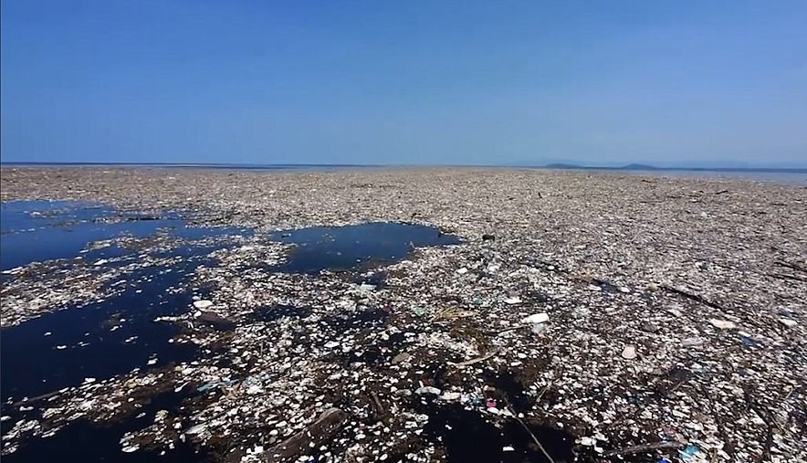 Plastic waste floating in the Caribbean Sea off the coast of Honduras