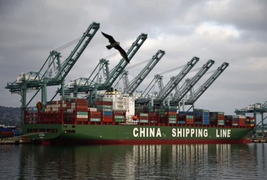 China Shipping Line at the Port of Los Angeles - California