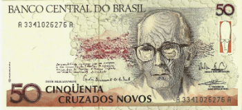 Carlos Drummond de Andrade depicted on a Brazilian 50 cruzados novos banknote 1990