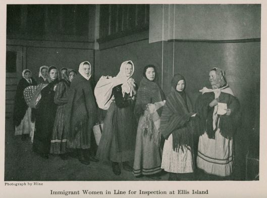 Immigrant Women in Line for Inspection at Ellis Island - New York