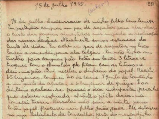 Carolina Maria de Jesus - Manuscript 15 July 1955